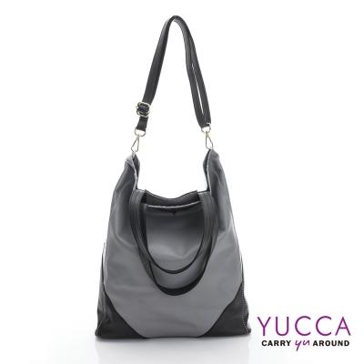YUCCA 簡約個性牛皮雙色肩背包-灰色 D014733