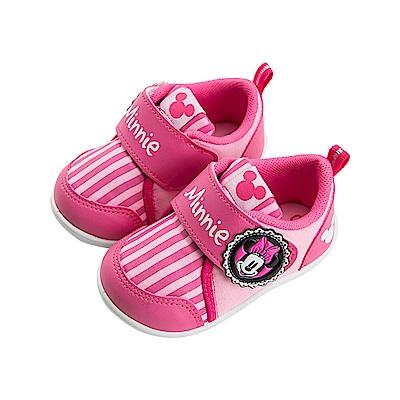 迪士尼童鞋 米妮 復古條紋學步鞋-桃