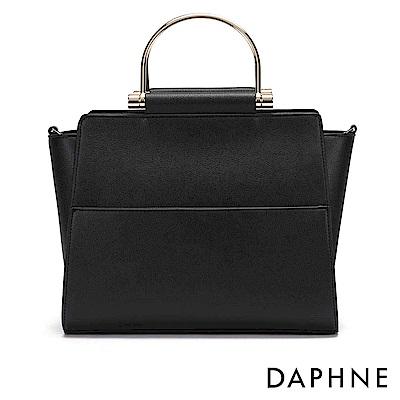 達芙妮DAPHNE-簡約純色金屬手提環兩用包-黑
