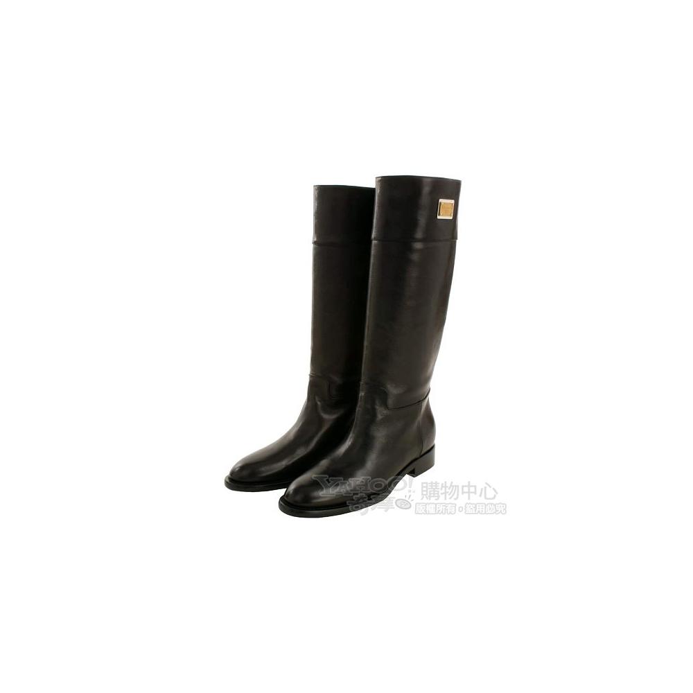 D&G 黑色小牛皮金屬牌飾長靴