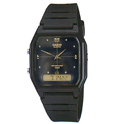 CASIO 潮流復古雙顯指針錶(AW-48HE-1A)-黑