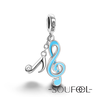SOUFEEL索菲爾 925純銀珠飾 藍色音符 吊飾