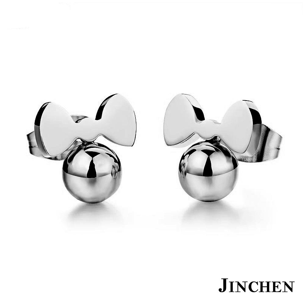 JINCHEN 白鋼蝴蝶結耳環 銀色