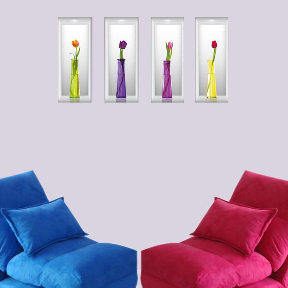 E-016創意生活系列-仿真立體花瓶(鬱金香) 大尺寸高級創意壁貼 / 牆貼