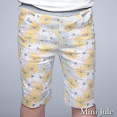 Mini Jule 童裝-短褲 滿版配色花朵口袋鬆緊短褲(黃)