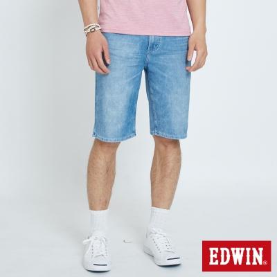 EDWIN 迦績褲JERSEYS雪花短褲-男-石洗藍