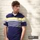 JEEP-時尚運動風配色條紋短袖POLO衫-深藍