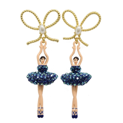 Les Nereides 優雅芭蕾舞女孩系列 閃耀珍珠蝴蝶結寶藍色水鑽舞者耳針式耳環