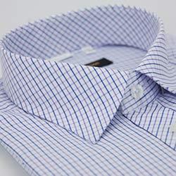 金‧安德森 紫藍格紋窄版短袖襯衫
