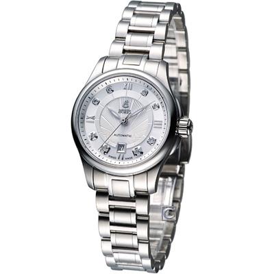 E.BOREL 依波路 布拉克系列機械腕錶-銀白/28mm