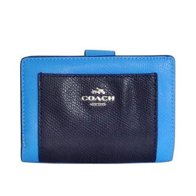 COACH海藍拼接深藍前口袋防刮皮革拉鍊袋中夾