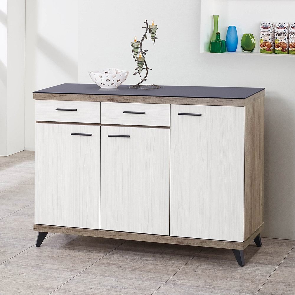 H&D 森玉4尺碗盤櫃 (寬120X深40X高88cm)