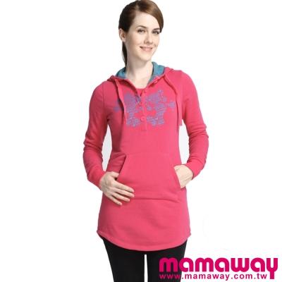 Mamaway-米奇刷毛異色連帽長版孕婦裝-哺乳衣