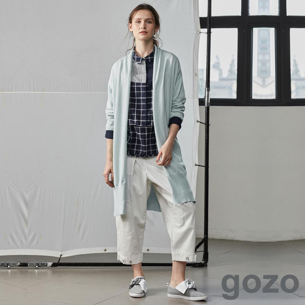 gozo街頭創作工裝牛仔寬褲(白色)-動態show