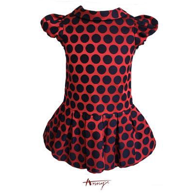 Annys可愛淘氣公主袖緞質大點點洋裝*7240紅