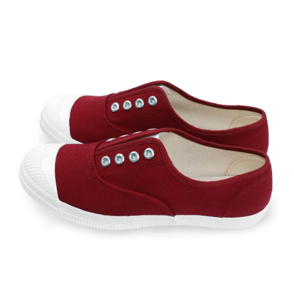 FUFA  MIT 百搭彈性帆布休閒懶人鞋 (A43) -酒紅色