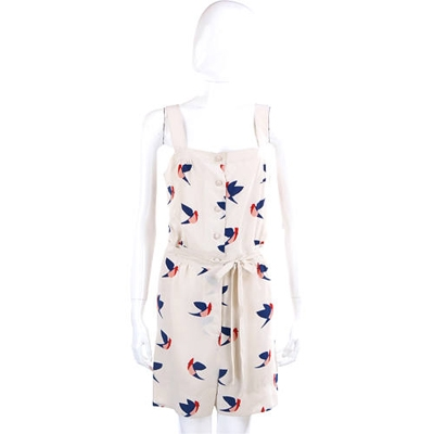 M.B.M.J 米白小鳥設計圖紋連身褲