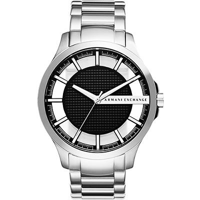A│X Armani Exchange 透視概念品牌腕錶-黑x銀/46mm