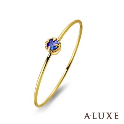 A-LUXE 亞立詩鑽石 Shine日系輕珠寶 黃K金藍寶石線戒女戒