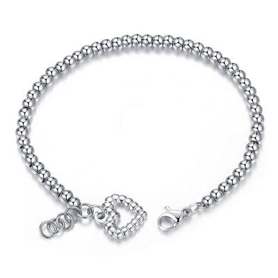 ACUBY-鋼製愛心圓珠手鍊