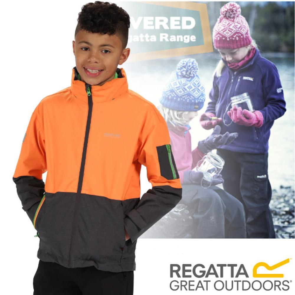 【REGATTA】兒童 超反光防水防風保暖二件式外套_橘/灰