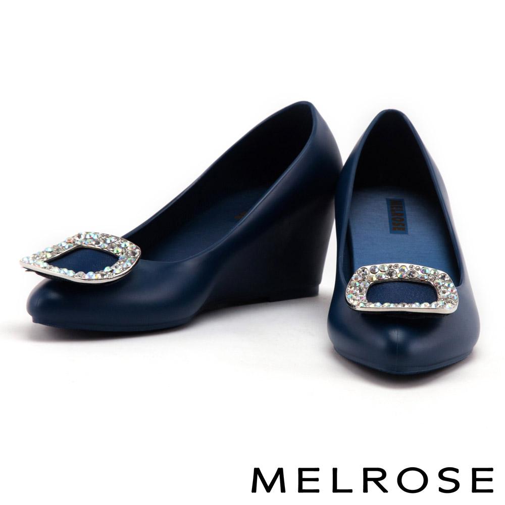 楔型鞋 MELROSE 閃耀方鑽果凍材質香香楔型鞋-藍