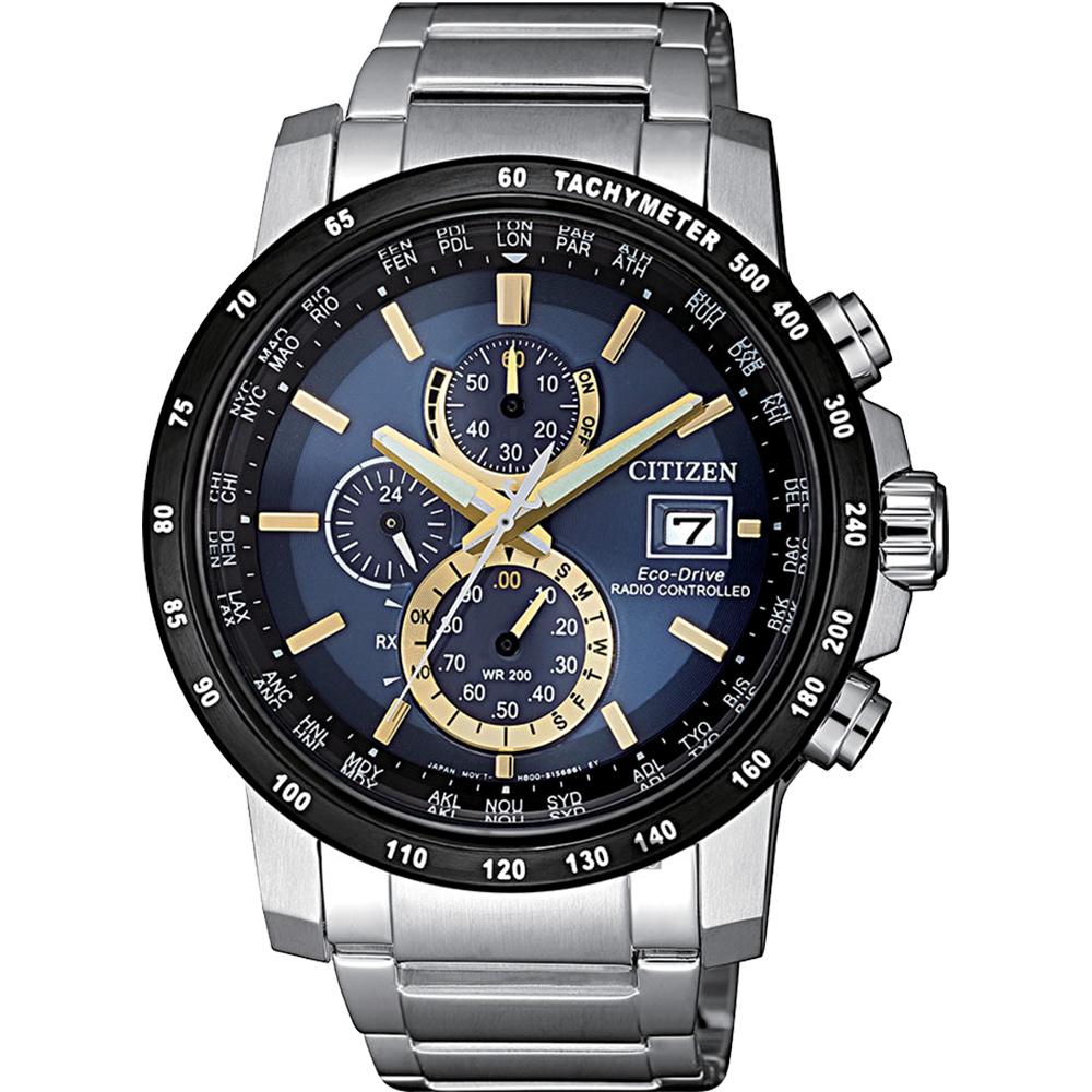 CITIZEN星辰 光動能萬年曆電波錶-藍x金時標/43mm
