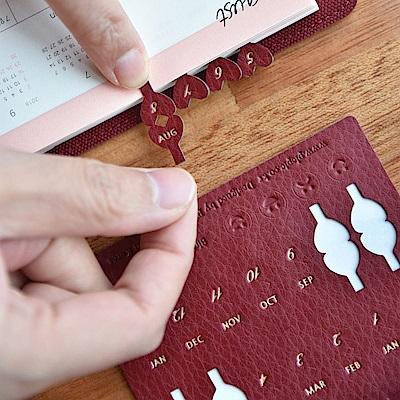 PLEPIC 愛心造型皮革標籤貼-勃根地紅