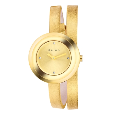 ELIXA Finesse系列香檳金框 香檳金晶鑽錶盤/皮革纏繞式錶帶28mm