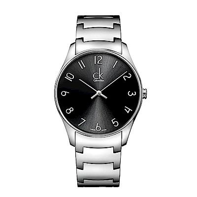 CK  CALVIN KLEIN Classic 經典系列時尚黑色數字面手錶-38mm