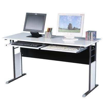 Homelike 巧思辦公桌 炫灰系列-白色亮面烤漆140cm(附二鍵盤架)
