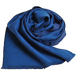 GUCCI SU SOGI 經典GG LOGO羊毛雙面寬版造型圍巾(藍LOGO/孔雀藍底)