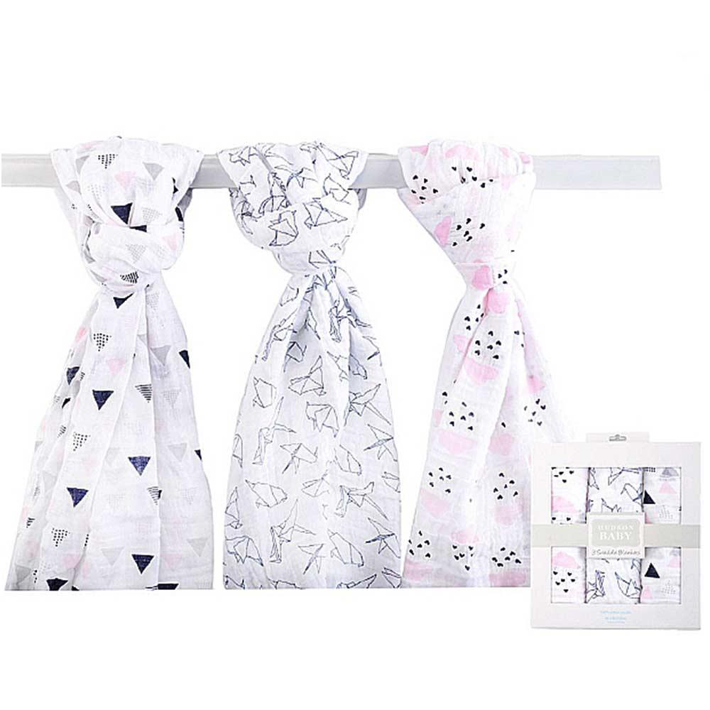 Luvable Friends 雲朵紙鶴棉紗包巾3件彌月禮盒組