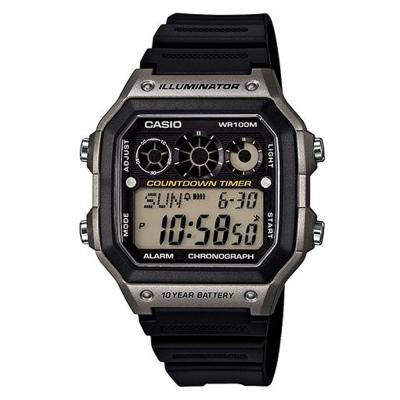 CASIO 10年電力亮眼設計方形數位錶(AE-1300WH-8A)灰框x黑錶圈/42mm