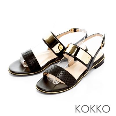 KOKKO-金屬狂潮真皮平底後帶涼鞋-經典黑