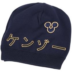 KENZO 刺繡日文字母圖騰針織帽(深藍色)