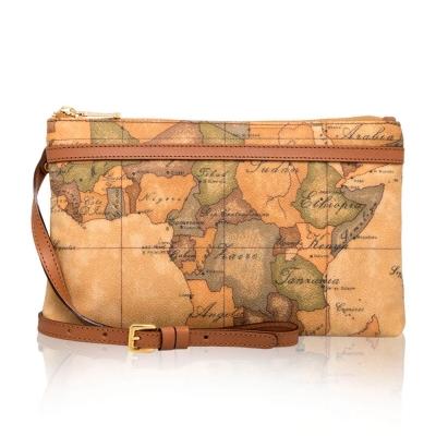 Alviero Martini 義大利地圖包 橫式拉鍊斜側背包(小)-地圖黃