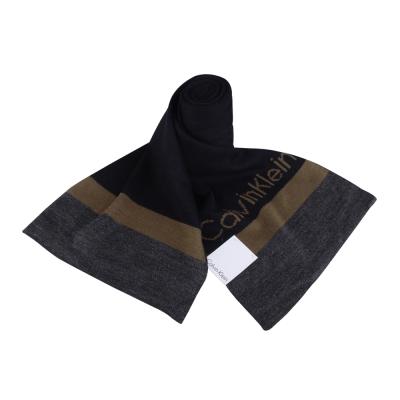 Calvin Klein 素面拼色LOGO橫條圍巾(深藍/咖啡)