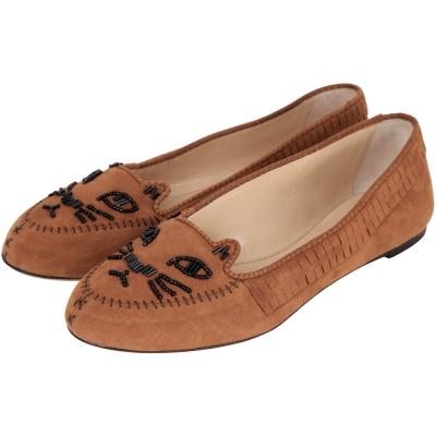 Charlotte Olympia Kitty 麂皮串珠飾貓咪平底鞋(棕色)