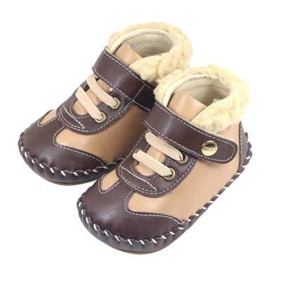 Swan天鵝童鞋-拼接高筒毛邊學步鞋1504-咖