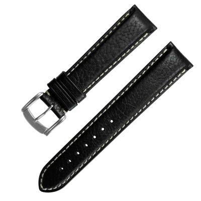 Watchband / 各品牌通用加長型精緻牛皮錶帶-黑色/20.22mm