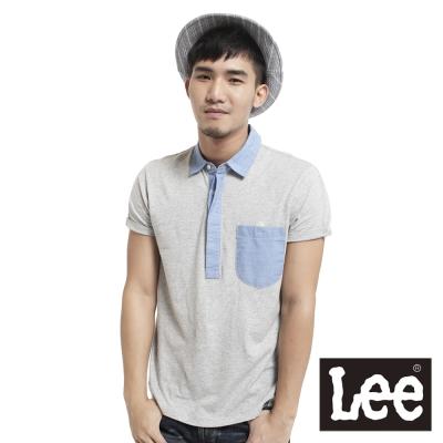 Lee-短袖POLO-平織針織布拼接-男款-麻花灰