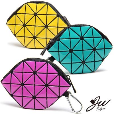 JW魔幻幾何漆皮變形零錢包-共10色-綠-紫-白