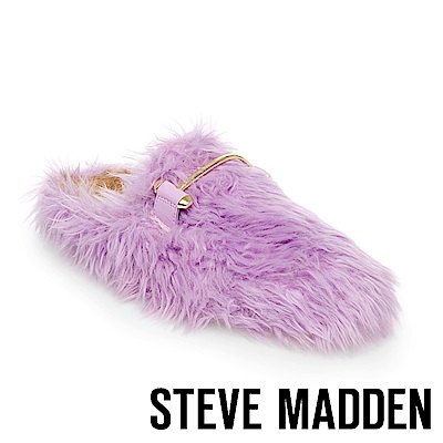 STEVE MADDEN-FRAGGLE 金屬扣毛絨拖-紫色