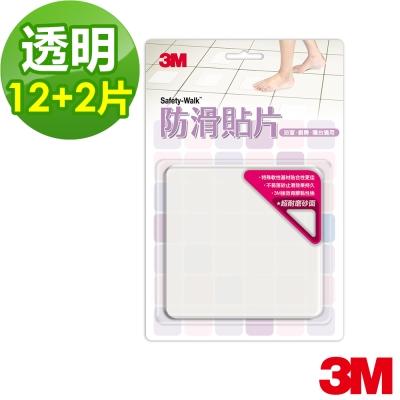 3M 魔利浴室專用防滑貼片(透明/12+2片裝)