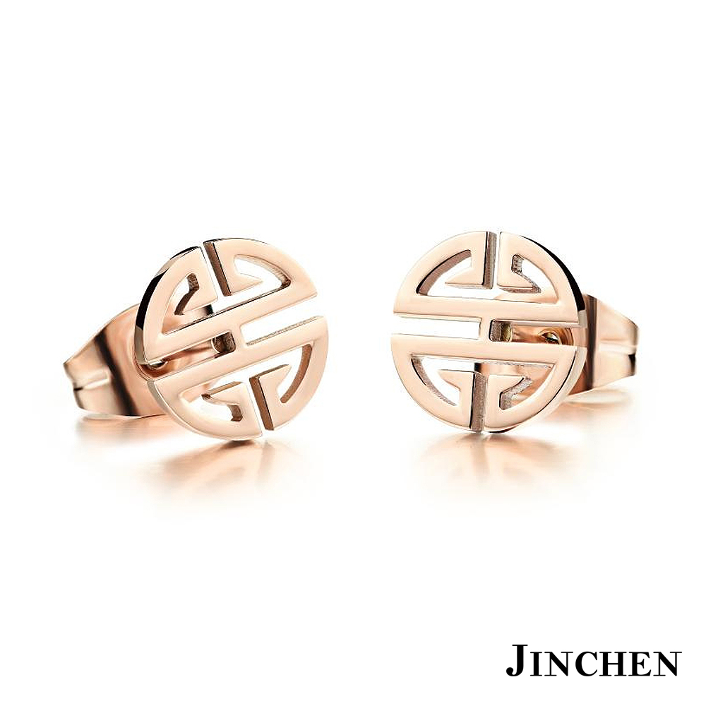 JINCHEN 白鋼長城耳環 玫瑰金