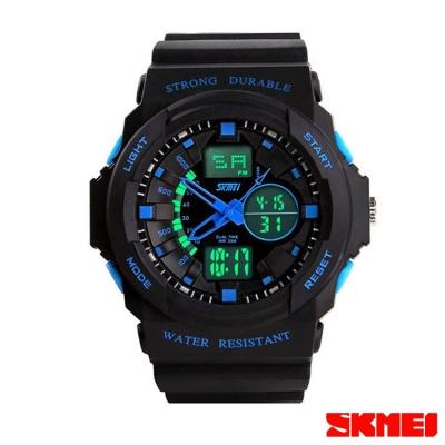 SKMEI時刻美 雙機芯多功能運動電子錶-藍指針/35mm