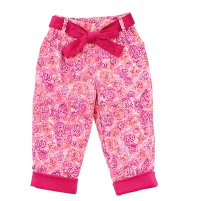 愛的世界 MYBEAR 玫瑰印花綁帶條絨褲/2~4歲