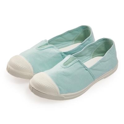 (女)Natural World 西班牙休閒鞋 素色鬆緊基本款*淺藍色