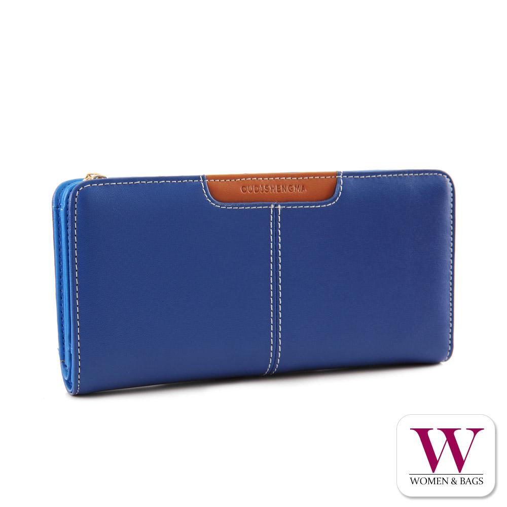 Woman&Bags 真皮配色對折拉鍊長夾 [LN-438]藍色